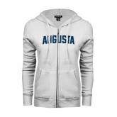 ENZA Ladies White Fleece Full Zip Hoodie-Augusta