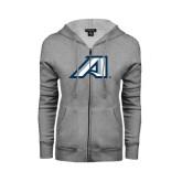 ENZA Ladies Grey Fleece Full Zip Hoodie-Victory A