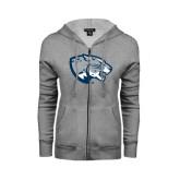 ENZA Ladies Grey Fleece Full Zip Hoodie-Jaguar Head