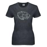 Ladies Dark Heather T Shirt-Jaguar Head Rhinestone