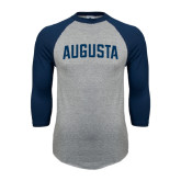 Grey/Navy Raglan Baseball T Shirt-Augusta