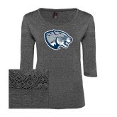 Ladies Charcoal Heather Tri Blend Lace 3/4 Sleeve Tee-Jaguar Head