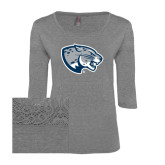 Ladies Grey Heather Tri Blend Lace 3/4 Sleeve Tee-Jaguar Head