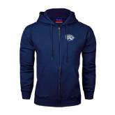 Navy Fleece Full Zip Hoodie-Jaguar Head