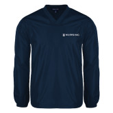 V Neck Navy Raglan Windshirt-Nursing