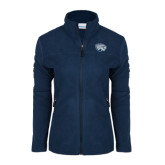 Columbia Ladies Full Zip Navy Fleece Jacket-Jaguar Head