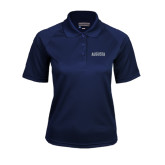 Ladies Navy Textured Saddle Shoulder Polo-Augusta