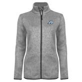 Grey Heather Ladies Fleece Jacket-Victory A