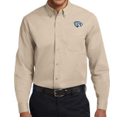 Khaki Twill Button Down Long Sleeve-Jaguar Head