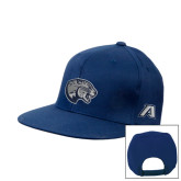 Navy Flat Bill Snapback Hat-Jaguar Head