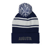 Navy/White Two Tone Knit Pom Beanie w/Cuff-Augusta