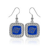 Crystal Studded Square Pendant Silver Dangle Earrings-GV