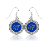 Crystal Studded Round Pendant Silver Dangle Earrings-GV