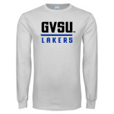 White Long Sleeve T Shirt-GVSU Lakers Stacked