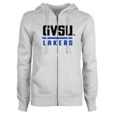 ENZA Ladies White Fleece Full Zip Hoodie-GVSU Lakers Stacked