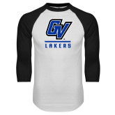 White/Black Raglan Baseball T Shirt-GV Lakers Stacked