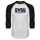 White/Black Raglan Baseball T Shirt-GVSU