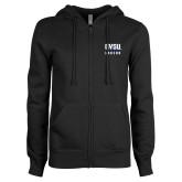 ENZA Ladies Black Fleece Full Zip Hoodie-GVSU Lakers Stacked