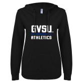 ENZA Ladies Black V Notch Raw Edge Fleece Hoodie-GVSU Athletics