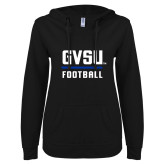 ENZA Ladies Black V Notch Raw Edge Fleece Hoodie-GVSU Football