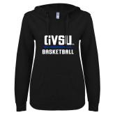 ENZA Ladies Black V Notch Raw Edge Fleece Hoodie-GVSU Basketball