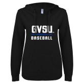 ENZA Ladies Black V Notch Raw Edge Fleece Hoodie-GVSU Baseball