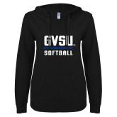 ENZA Ladies Black V Notch Raw Edge Fleece Hoodie-GVSU Softball