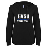 ENZA Ladies Black V Notch Raw Edge Fleece Hoodie-GVSU Volleyball