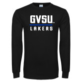 Black Long Sleeve T Shirt-GVSU Lakers Stacked