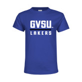 Youth Royal T Shirt-GVSU Lakers Stacked