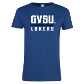 Ladies Royal T Shirt-GVSU Lakers Stacked