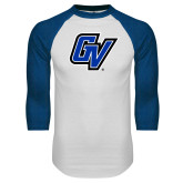 White/Royal Raglan Baseball T Shirt-GV