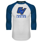 White/Royal Raglan Baseball T Shirt-GV Lakers Stacked