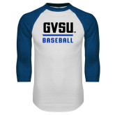 White/Royal Raglan Baseball T Shirt-GVSU Baseball