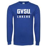 Royal Long Sleeve T Shirt-GVSU Lakers Stacked