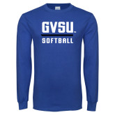 Royal Long Sleeve T Shirt-GVSU Softball