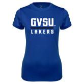 Ladies Syntrel Performance Royal Tee-GVSU Lakers Stacked