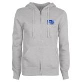 ENZA Ladies Grey Fleece Full Zip Hoodie-GVSU Lakers Stacked