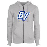 ENZA Ladies Grey Fleece Full Zip Hoodie-GV
