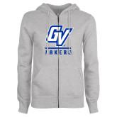 ENZA Ladies Grey Fleece Full Zip Hoodie-GV Lakers Stacked