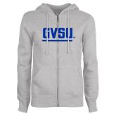 ENZA Ladies Grey Fleece Full Zip Hoodie-GVSU