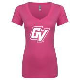 Next Level Ladies Junior Fit Ideal V Pink Tee-GV