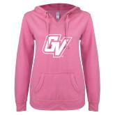ENZA Ladies Hot Pink V Notch Raw Edge Fleece Hoodie-GV