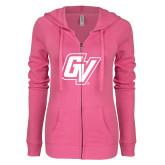 ENZA Ladies Hot Pink Light Weight Fleece Full Zip Hoodie-GV