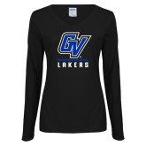 Ladies Black Long Sleeve V Neck Tee-GV Lakers Stacked
