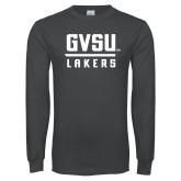 Charcoal Long Sleeve T Shirt-GVSU Lakers Stacked
