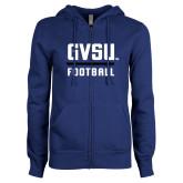 ENZA Ladies Royal Fleece Full Zip Hoodie-GVSU Football