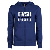 ENZA Ladies Royal Fleece Full Zip Hoodie-GVSU Baseball