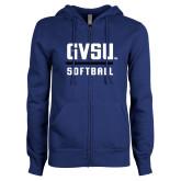 ENZA Ladies Royal Fleece Full Zip Hoodie-GVSU Softball