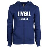 ENZA Ladies Royal Fleece Full Zip Hoodie-GVSU Soccer